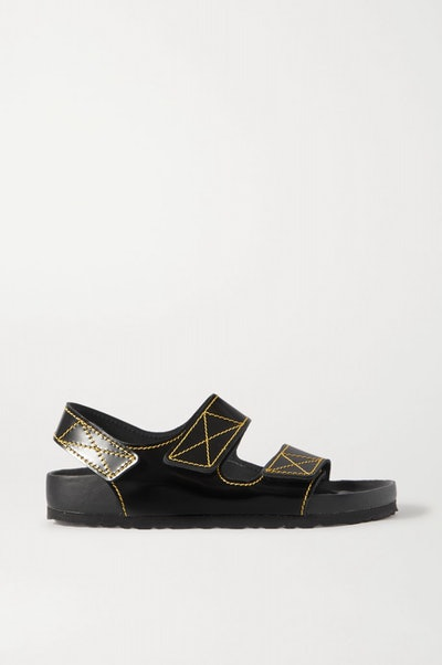 + Birkenstock Milano topstitched glossed-leather slingback sandals