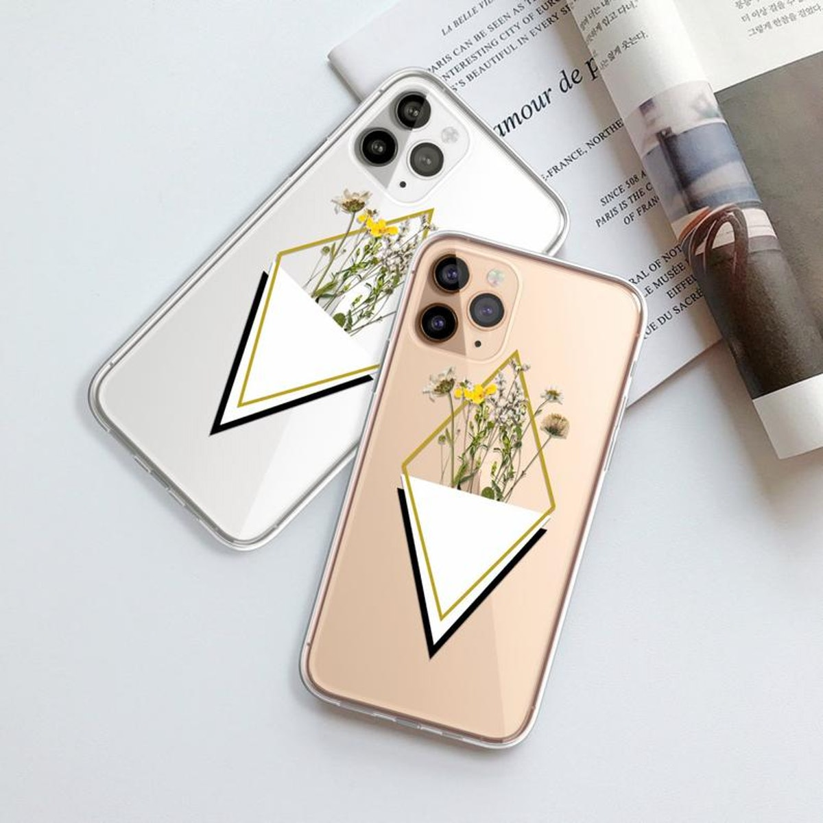 Cute Minimal Aesthetic Pressed Wildflower Print Clear Phone Case For iPhone 12 Mini