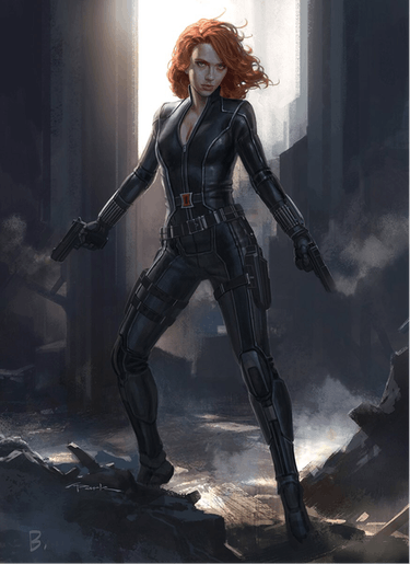 Black Widow costume concept art by Andy Park.