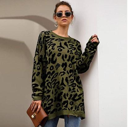 ECOWISH Leopard Print Sweater