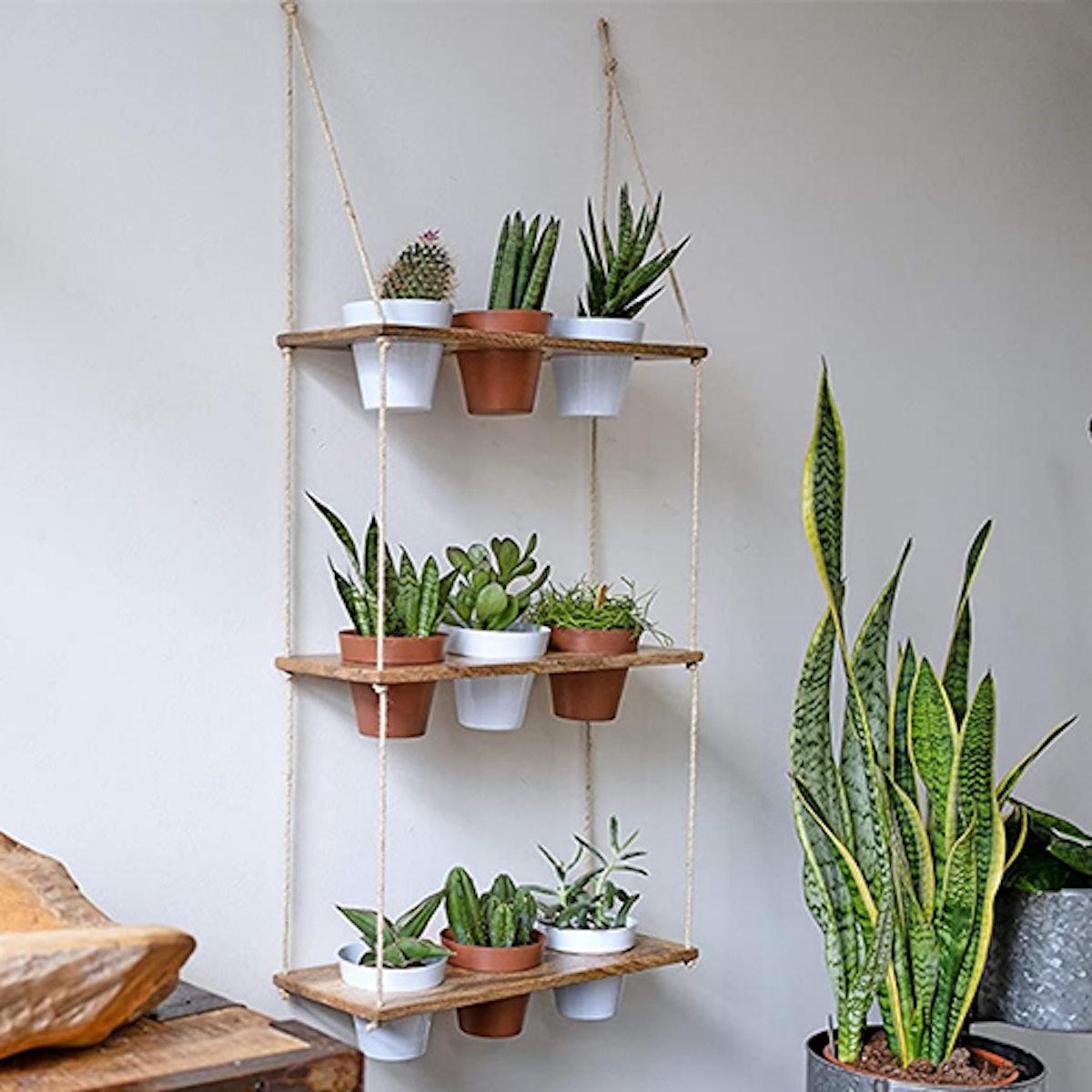 Kimisty Three-Tiered Hanging Planter Shelf With Pots