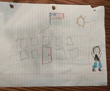 A child's drawing depicting the White House, an American flag, and a figure wearing sneakers.