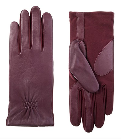 isotoner Stretch Leather Gloves with Fleece Lining