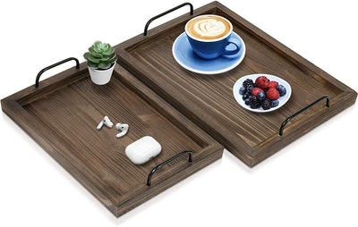 Comfort Theory Wooden Serving Trays (Set of 2)