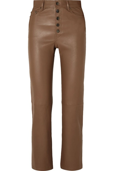 Den leather straight-leg pants
