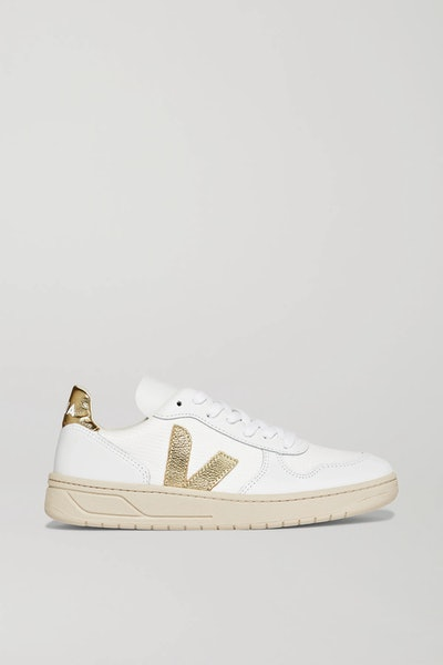 + NET SUSTAIN V-10 metallic-trimmed leather and mesh sneakers