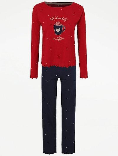 Red Hot Chocolate Slogan Long Sleeve Pyjamas