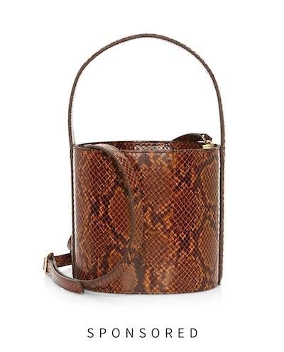 Bissett Snakeskin-Embossed Leather Bucket Bag