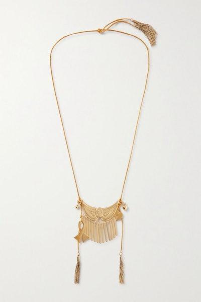 Tasseled gold-tone necklace