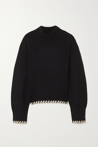Colette whipstitched ribbed cashmere sweater
