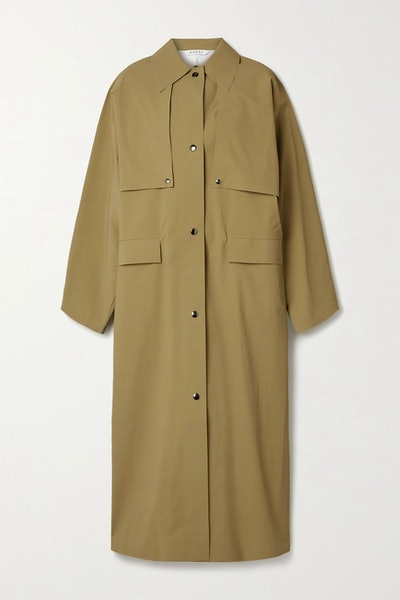 Reversible convertible cotton-blend trench coat