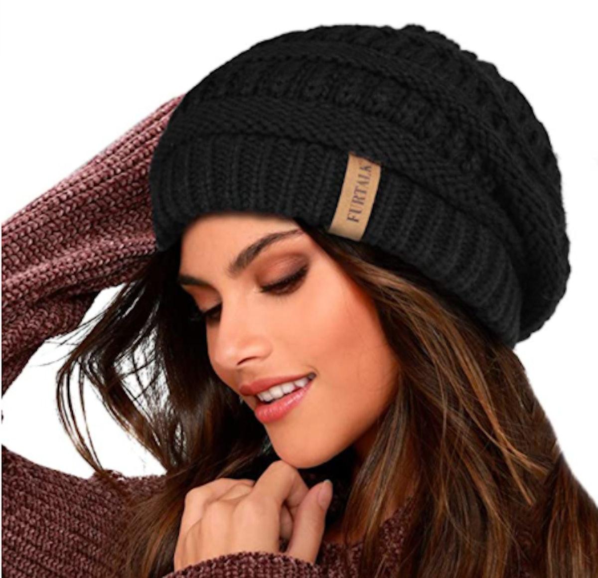 FURTALK Slouchy Fleece-Lined Knit Beanie