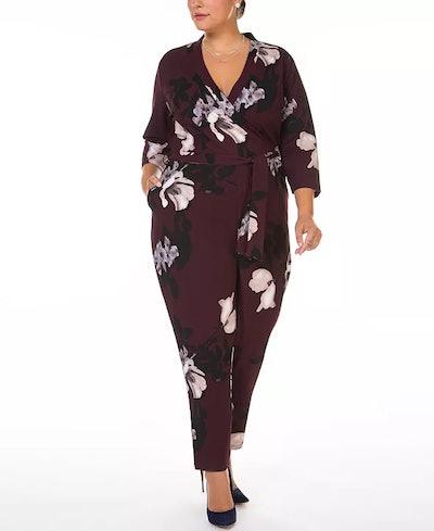 Plus Size Floral-Print Wrap Jumpsuit