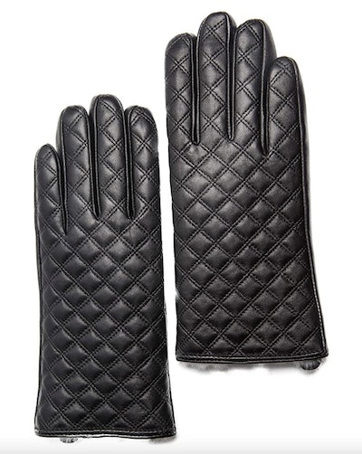 CANDOR AND CLASS Rabbit Fur-Lined Leather Gloves