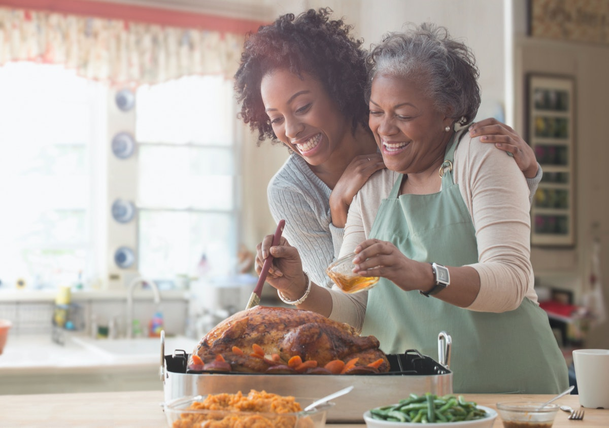 Mother and daughter cooking Thanksgiving dinner