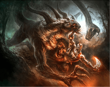'God of War III' concept art showing Kratos fighting a Chimera by Andy Park.