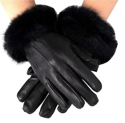 Alpine Swiss Leather Gloves with Rabbit-Fur Trim