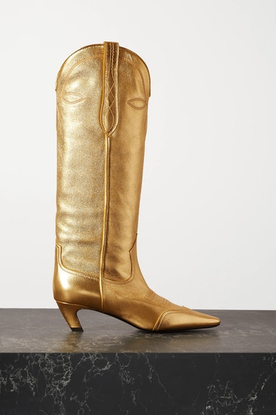 Dallas Metallic Leather Knee Boots