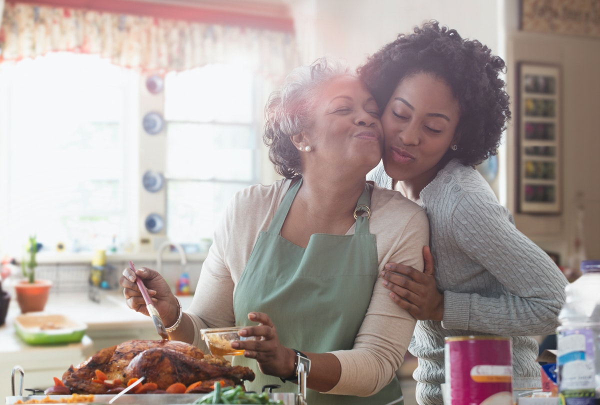 Mother and daughter cooking Thanksgiving together in kitchen