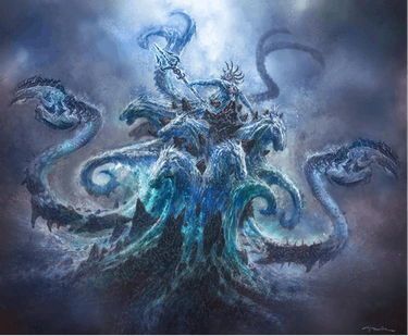'God of War III' concept art showing Poseidon's final form by Andy Park.