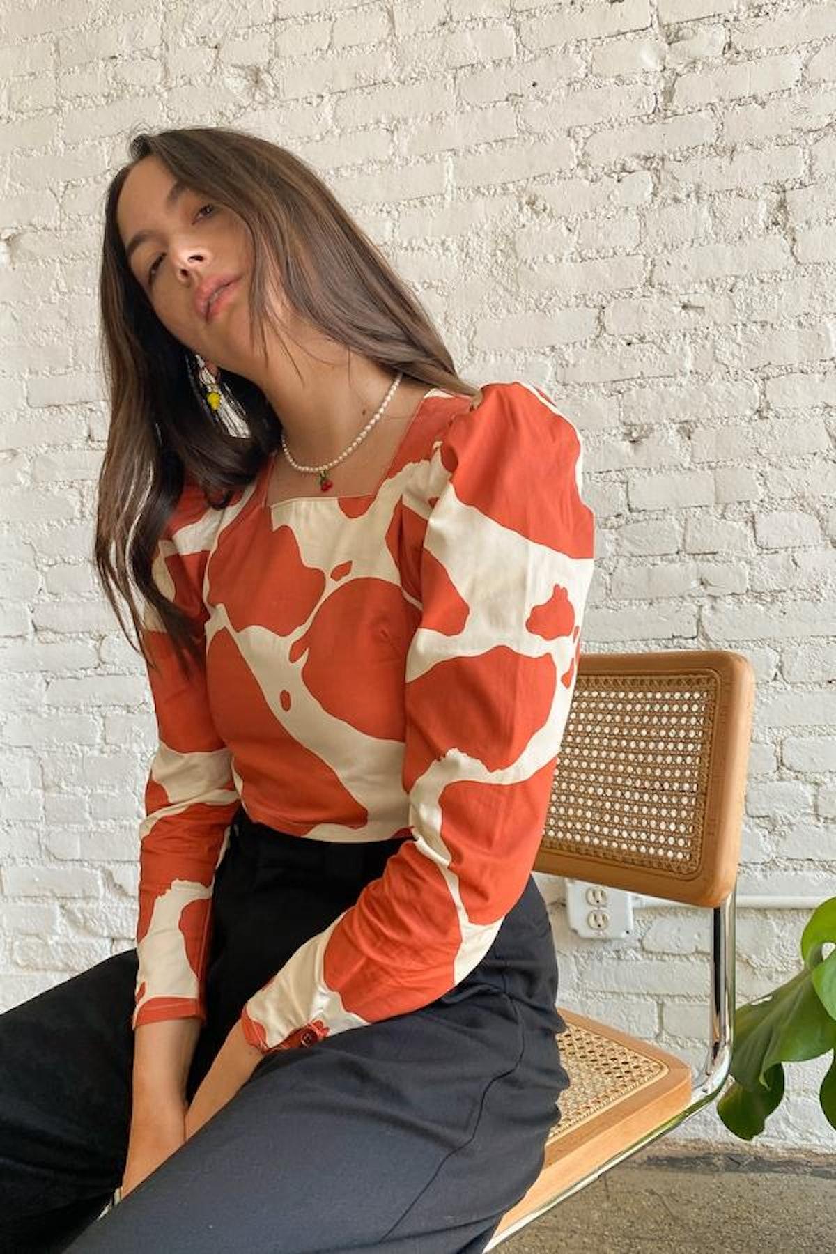 Maddie Long Sleeve Top - Moo Print