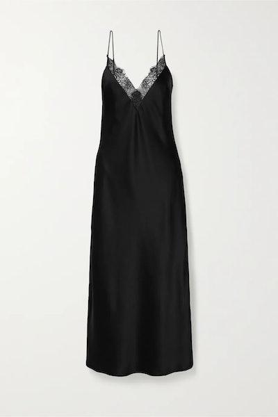 Katy lace-trimmed silk-charmeuse midi dress
