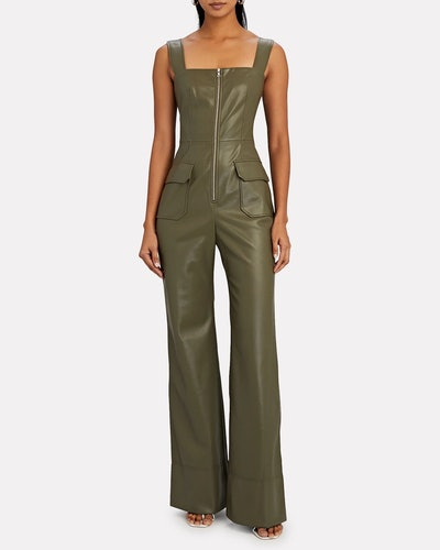 Reverie Sleeveless Vegan Leather Jumpsuit
