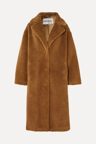 Maria Cocoon oversized  faux shearling coat