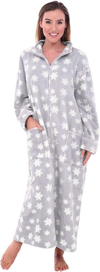 Alexander Del Rossa Women's Zip-Up Fleece Robe