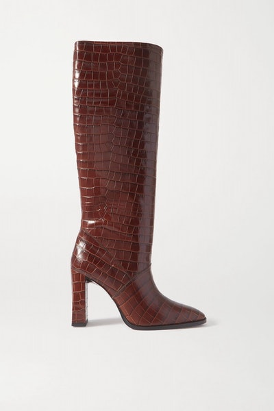 Camilla croc-effect leather knee boots