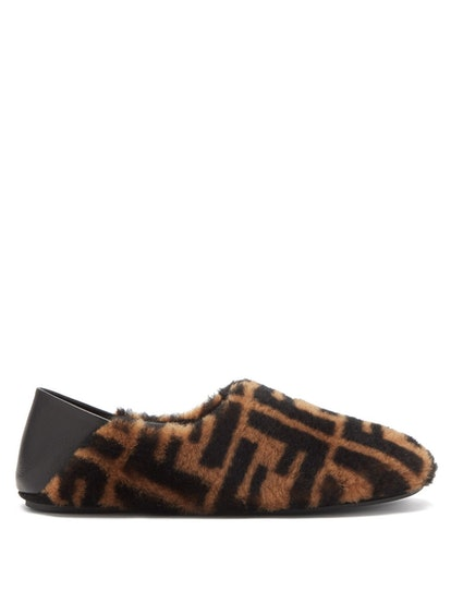 FF-Logo Shearling Slippers