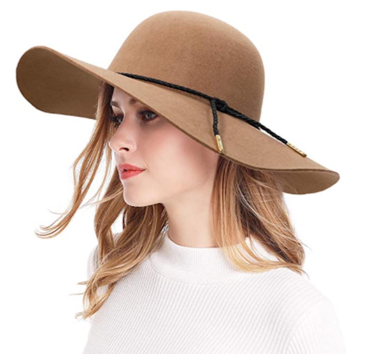 Bienvenu Wide-Brim Wool Floppy Hat