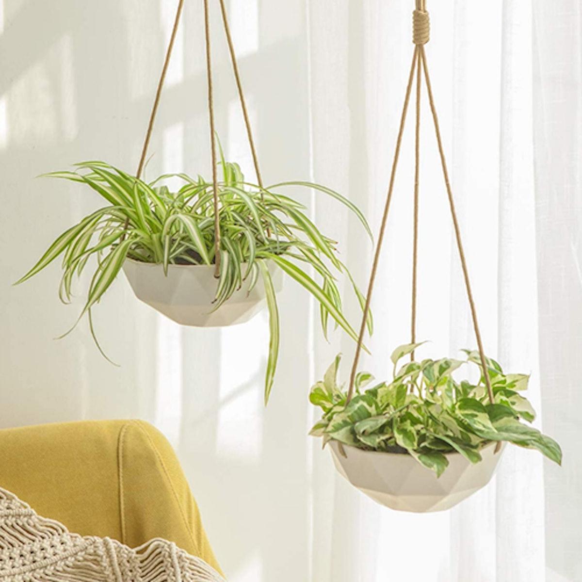 Mkono 9-Inch Ceramic Hanging Planter (2 Pieces)