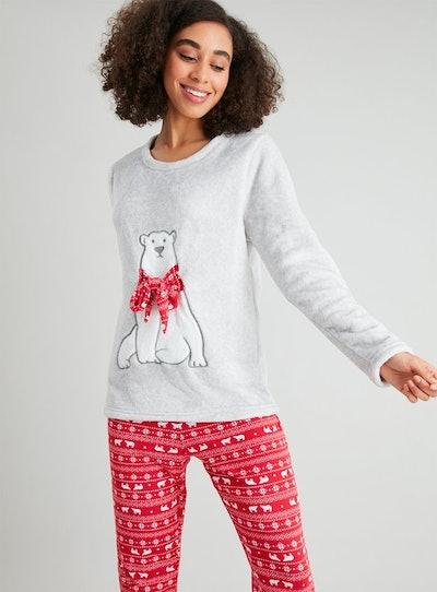 Christmas Polar Bear Fleece Pyjamas