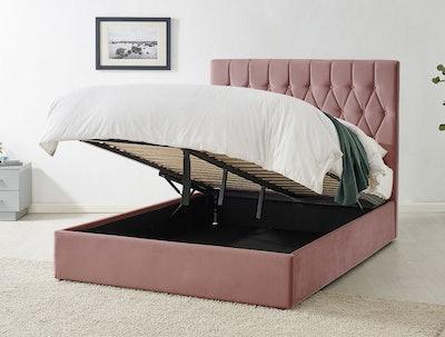 Waldorf Pink Velvet Upholstered Ottoman Storage Bed Frame