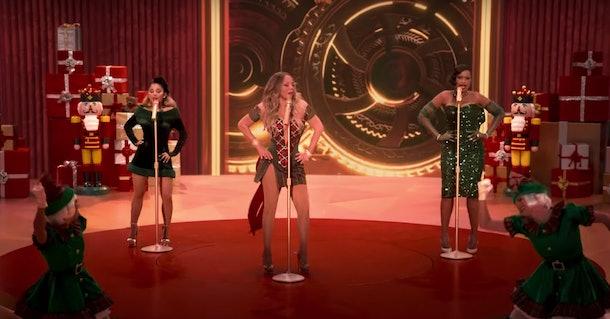 "Mariah Carey, Ariana Grande, and Jennifer Hudson perform ""Oh Santa!"" on 'Mariah Carey's Magical Christmas Special.'"
