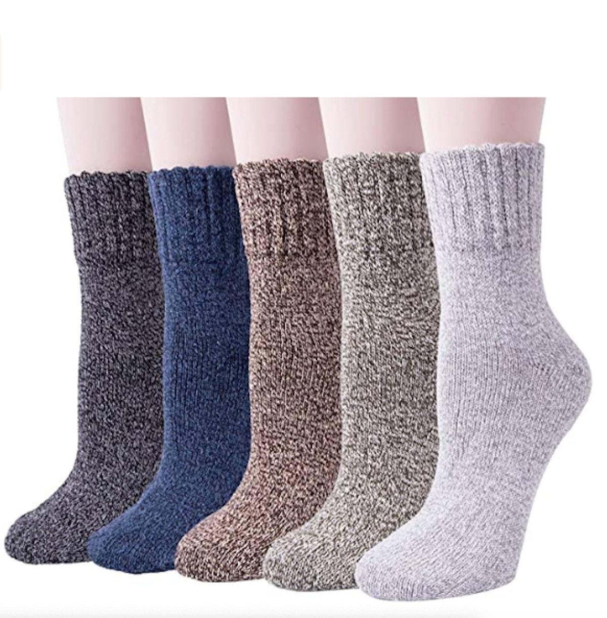 Senker Warm Wool Thick Knit Winter Socks (5-Pack)