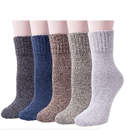 Senker Warm Wool Thick Knit Winter Socks (5-Pack)