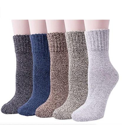 Women's Warm Wool Thick Knit Winter Socks (5-Pack)