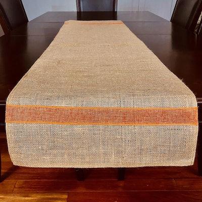 Burlap Table Runner with Orange Stripe