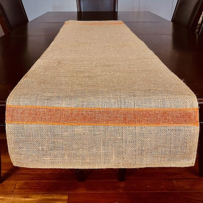 Burlap Table Runner with Orange Stripe