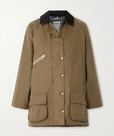 Edith Corduroy-Trimmed Waxed-Cotton Jacket