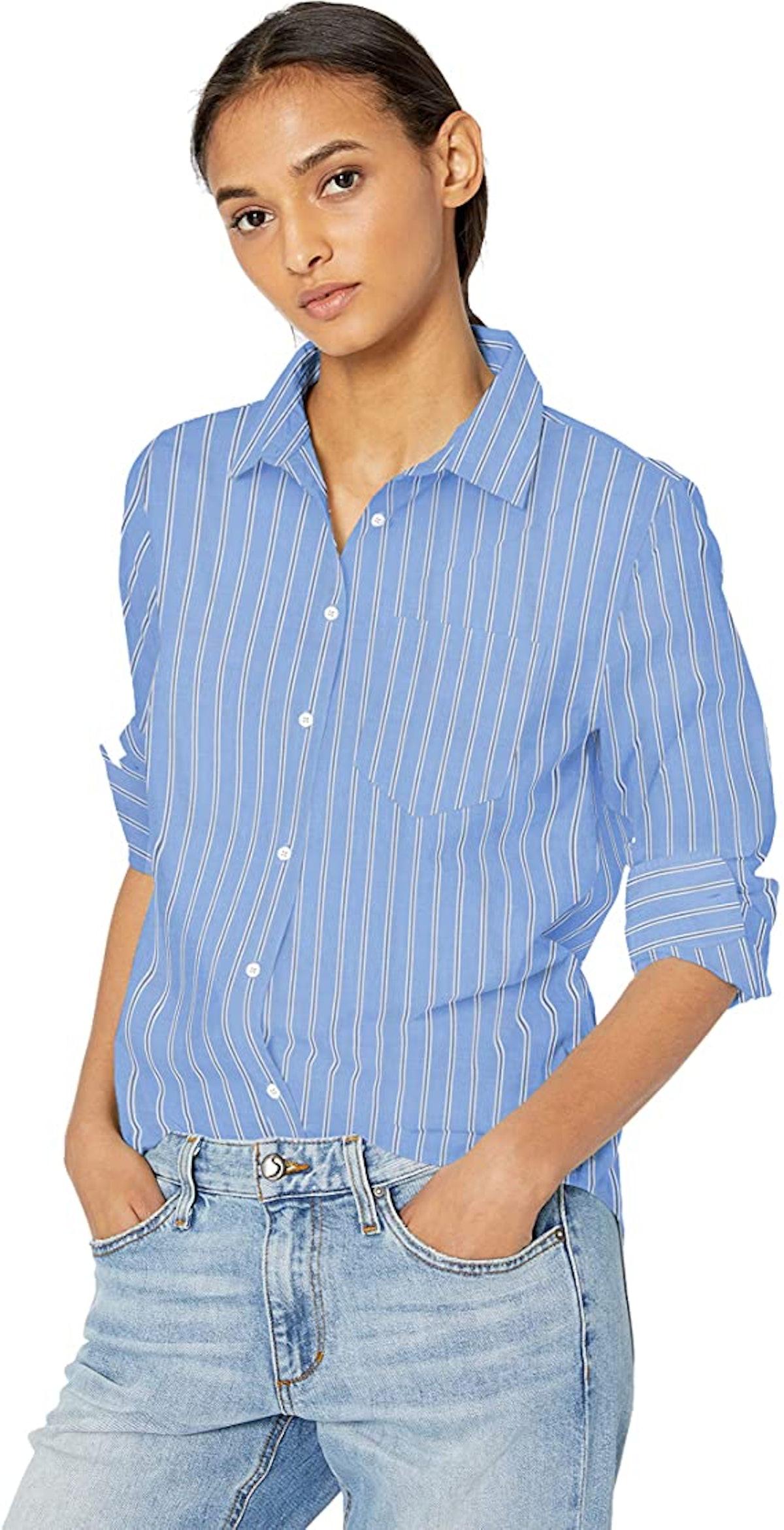 Amazon Essentials Classic-Fit Long Sleeve Button Down Poplin Shirt