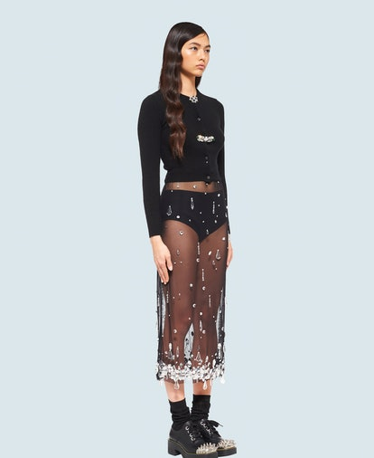 Embroidered Stretch Tulle Skirt
