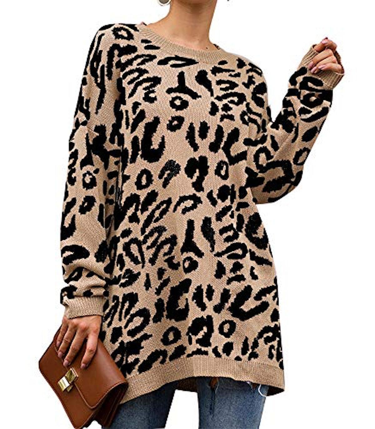 PRETTYGARDEN Leopard Print Oversized Crewneck Sweater
