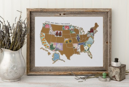US State Flower Map | Scratch Off Print