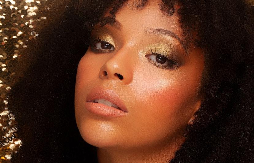 Aether Beauty Mini Crystal Eyeshadow Palette look on model.