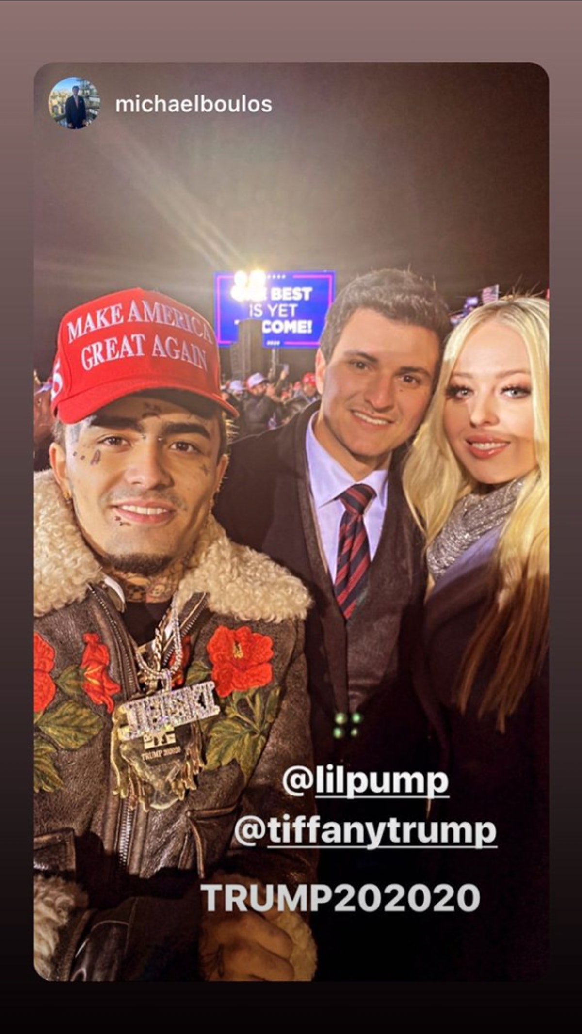 Tiffany Trump shared a photo with her boyfriend and rapper Lil' Pump.