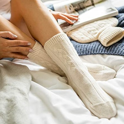 Graham Pure Scottish Cashmere Cable Knit Bed Socks