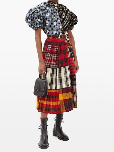 Asymmetric Pleated Tartan-Wool Midi Skirt